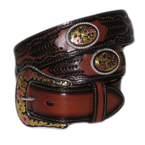 Embossed Leather Belt With Floral Concho - 318