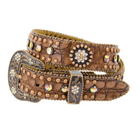 Belt - Western - Brown Leather with Multi Colour Conchos and Rhinestones - [Code 371]