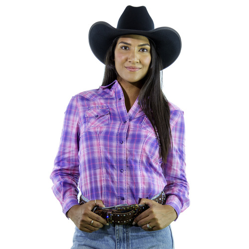 Embroided Peron Pink Check Shirt - 4016F