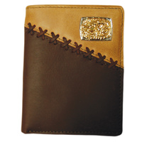 Dark Brown & Coffee Leather With Silver & Gold Concho - 5003-B