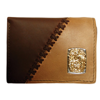 Dark Brown & Coffee Leather With Silver & Gold Concho - 5003-C