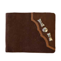 Wallet - Leather - Suede Distressed - Silver Concho & Arrows - [5004-C]