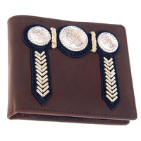 Wallet - Leather - Distressed - Buck Stitching & Conchos - [5006-B]