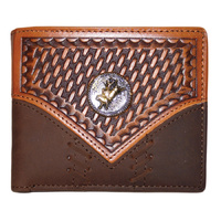 Wallet - Leather - Distressed -  Tooled - Bull Rider Concho - [5007-B]