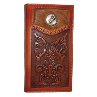 Wallet - Leather - Tan - Floral Tooling - Cowhide Hair-on - Bull Rrider - [5013-A]
