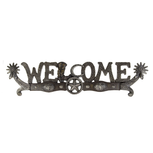 Welcome Sign - Spurs and Star - Wall Mount - 7049