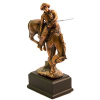 Bronco Rider - Small Bronze Plated Statue- 7520