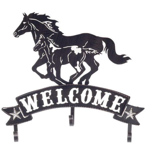 Metal Welcome Sign - Horse and Foal - 7959