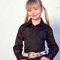Girls Cotton Half Placket Work Shirt - 8052-K-Black