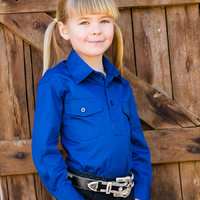 Girls Cotton Half Placket Work Shirt - 8052-N-Royal