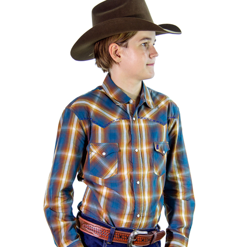 Boys 100% Cotton Brown Check Shirt - 8057E