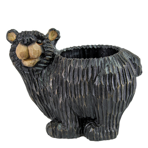 Black Bear Resin Planter - [B26226]
