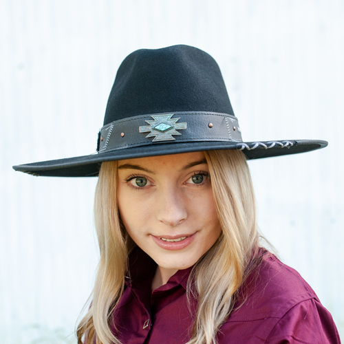 """Messed Up"" Felt Flat Brim Cowgirl Hat - BH0769BL"