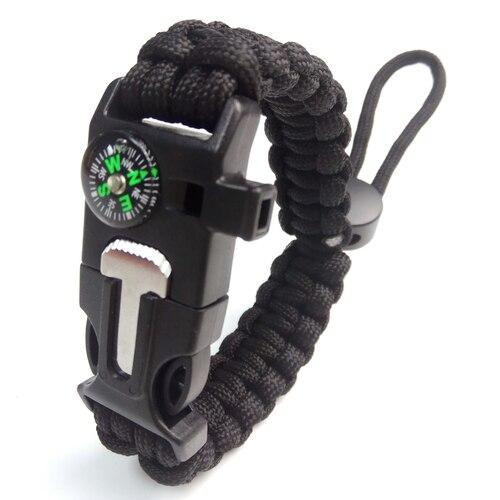 Camping & Hiking Survival bracelet - BLACK