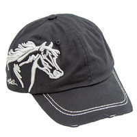 Black - Embroidered Horse Head (BC-113B)