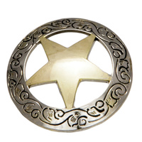 Western Star - Gold Star -  Engraved Border -50mm - Pack of 6 - Concho-04