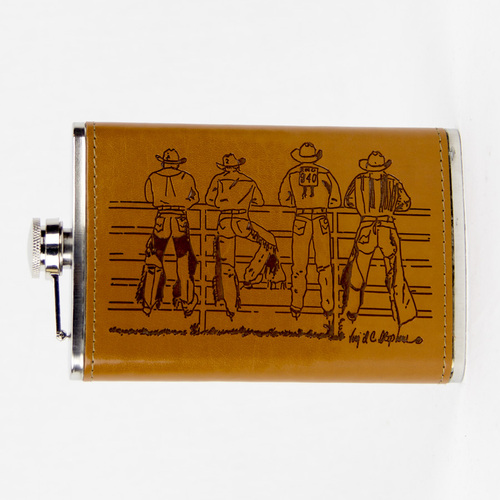 Flask 10oz - Leather - Cowboys on Fence - [Flask20]
