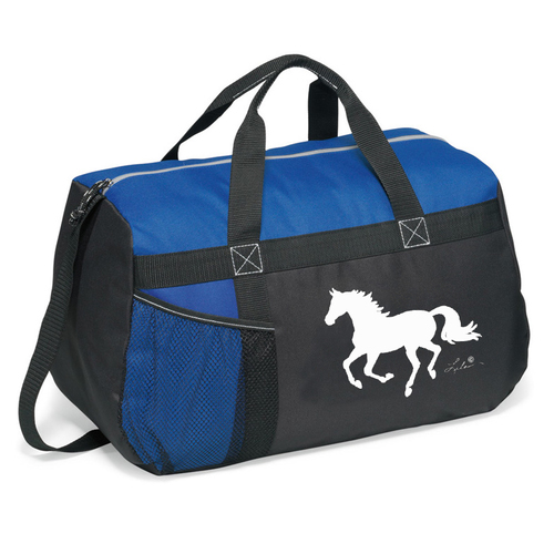 Blue Overnight Bag - Lila Horse Print - GG819BL