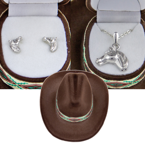 'Horse Head' Jewelry Set - Earrings And Necklace - J103