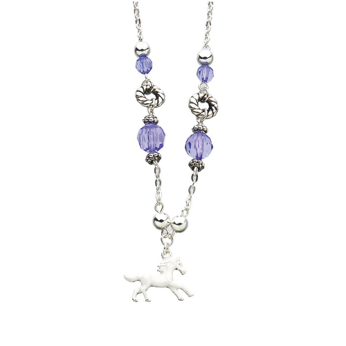 Necklace - Purple Bead Charm Necklace- JN3093PU