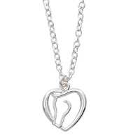 Necklace - Horse Head Heart - Gift Boxed - JN907