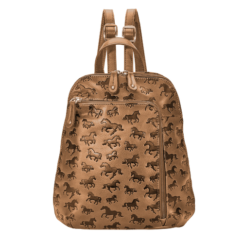 Backpack - Tan Debossed Horse Print - Faux Leather - [LP436TN]