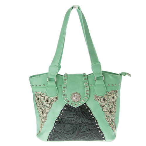 "Mint Green Faux Leather Handbag ""Embossed"" - LP5903GR"