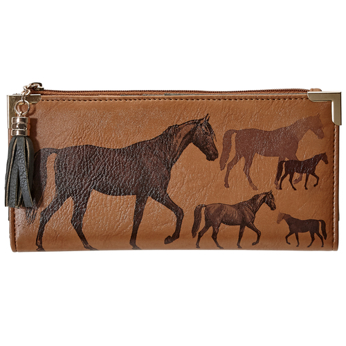 Tan Faux Leather Horse Clutch - LW412BR