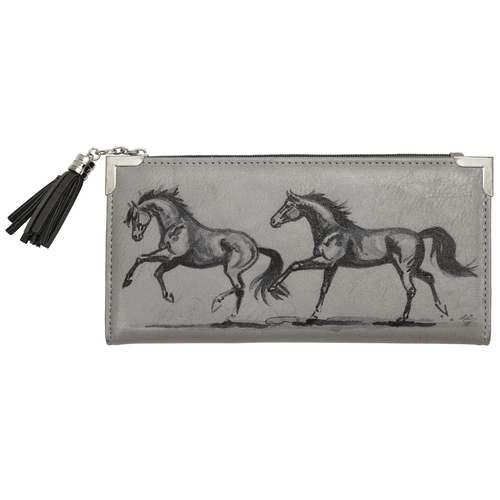 Grey Faux Leather Horse Clutch - LW438GY