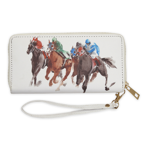 Wallet - White Faux Leather -  Racehorses Design - [LW442]