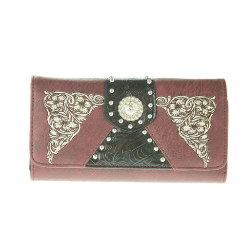 Maroon Faux Leather Purse with Concho - LW5903MA