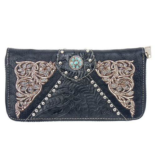 Western - Black Faux Leather Zippered Purse with Turquoise - [LW7008]