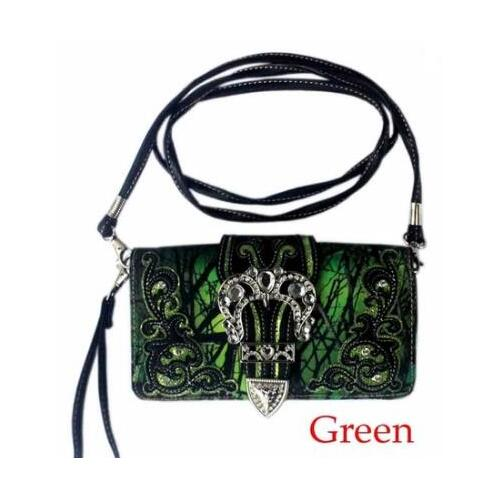 Ladies Purse - Western Themed - Green Faux Leather - [MW110GR]