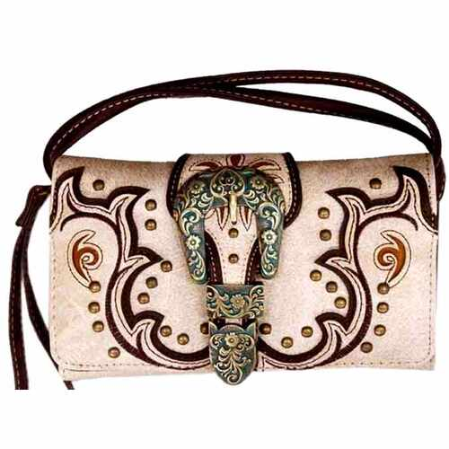Ladies Purse - Western Themed - Beige Faux Leather - [MW118BE]