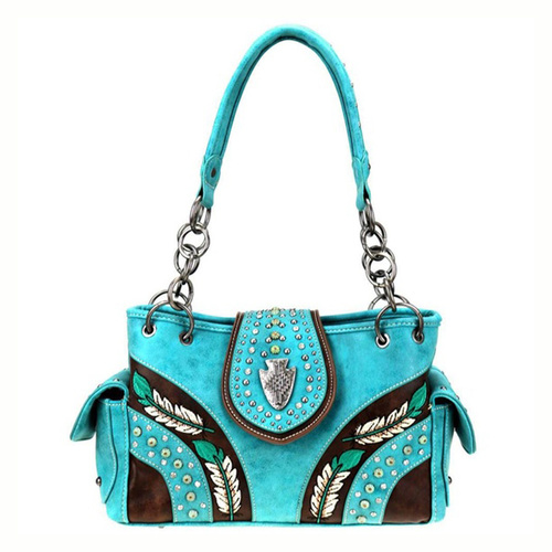 Handbag - Turquoise Faux Leather - Embroided with Silver Studs - [MW881G-TQ]