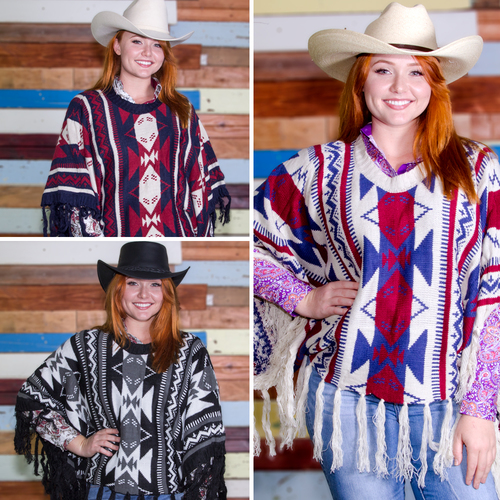 Ladies Ponchos - White/Red/Blue