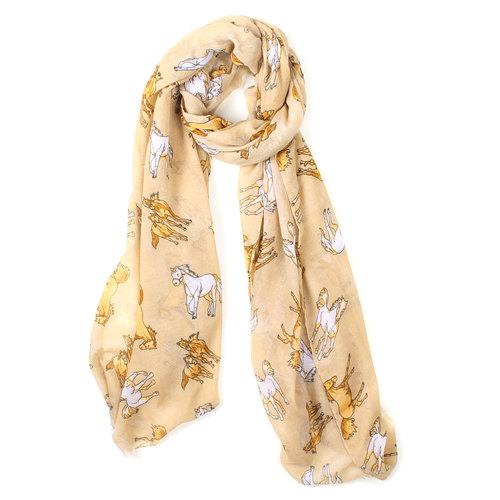 Ladies Scarf - Beige with Tan/White Horses - Scarf-16