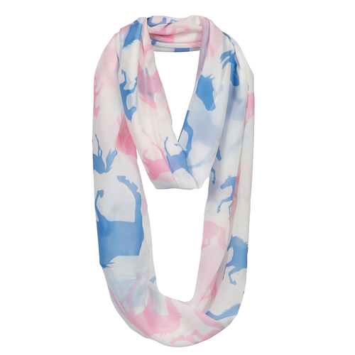 "Ladies Scarf - ""Lila"" White Infinity with Pink & Blue Horses -  [Scarf -35]"