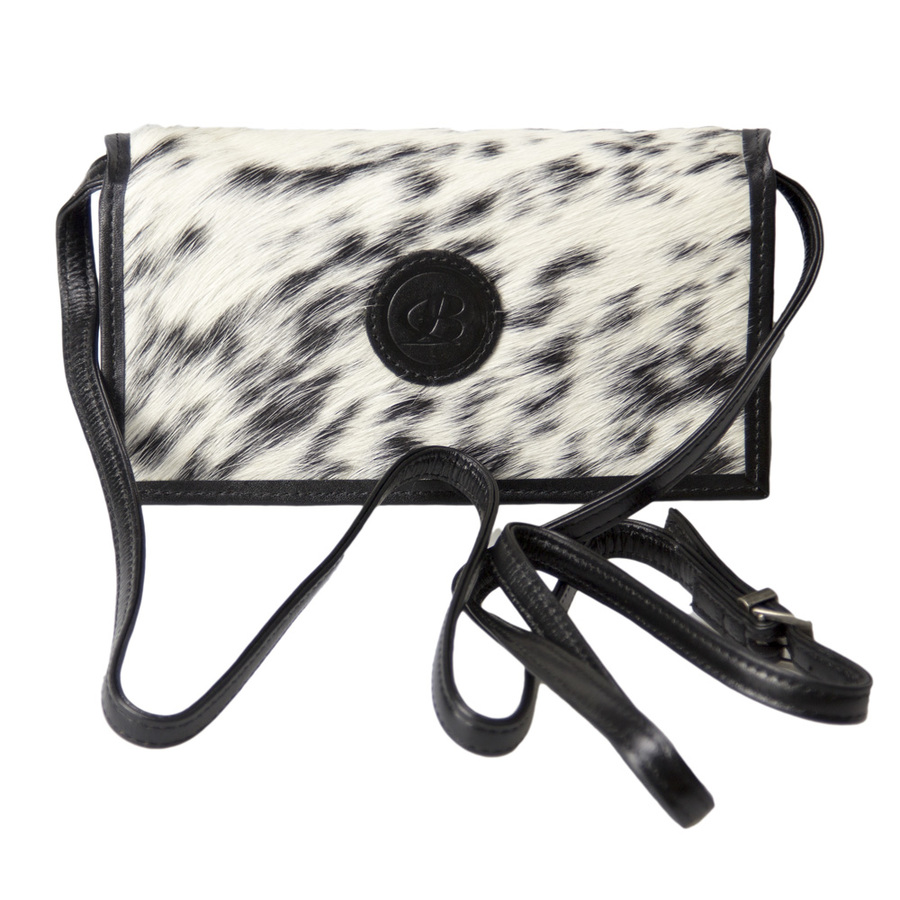 Cowhide Hair-On Leather Clutch - Black - 5034