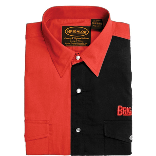 Mens Two Tone Cotton Shirts-8008-A-Red/Black-L