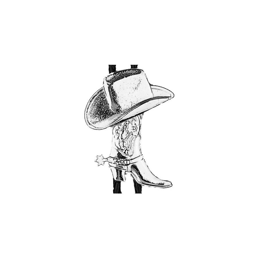 Bolo Tie - Silver Plate Boots and Hats - [Bolo-26]