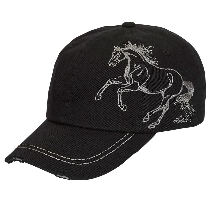 Black Cap - Embroidered Galloping Horse - BC117B