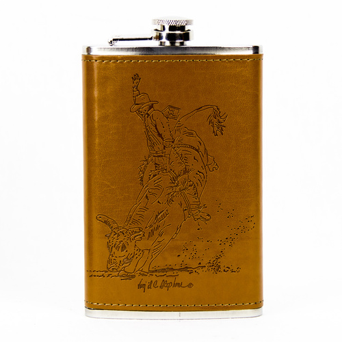 Flask 10oz - Leather - Bull Rider - Flask22