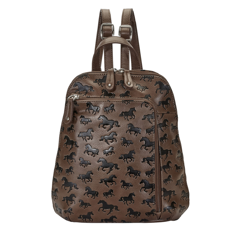 Brown Debossed Faux Leather Backpack - LP436BR