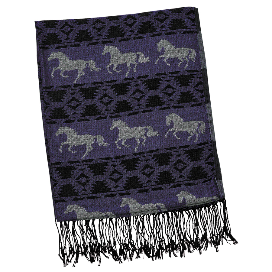 Ladies Scarf - Purple with White Horses - Scarf-08PU