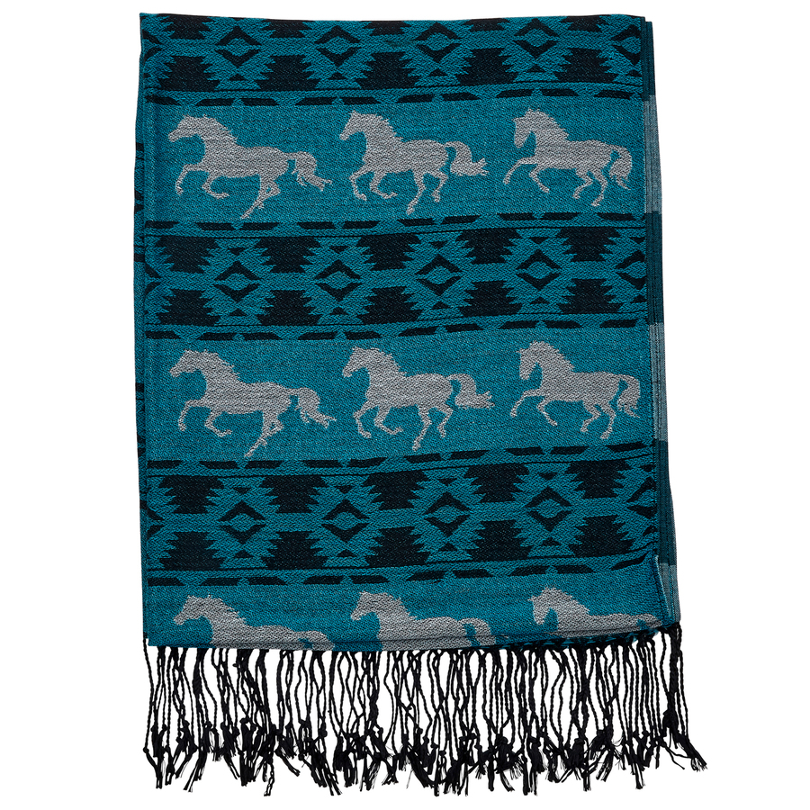 Ladies Scarf - Turquoise with White Horses - Scarf-08TQ