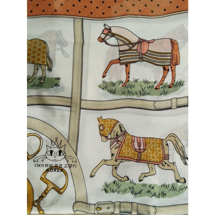 Ladies Head Scarf - Beige Equine Pattern - Scarf-31